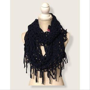 Faded Pink Infinity Loop Fringe Scarf Navy OS